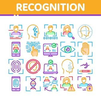 Erkennungssammlung elemente icons set