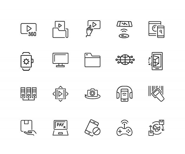Erkennungssymbole. satz von zwanzig linie ikonen. video-inhalte, datenaustausch, online-service.