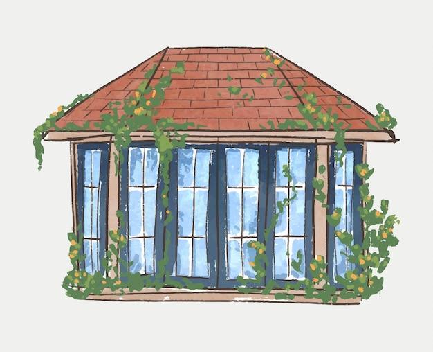 Erkerfenster in einem garten mit weinrebenillustration
