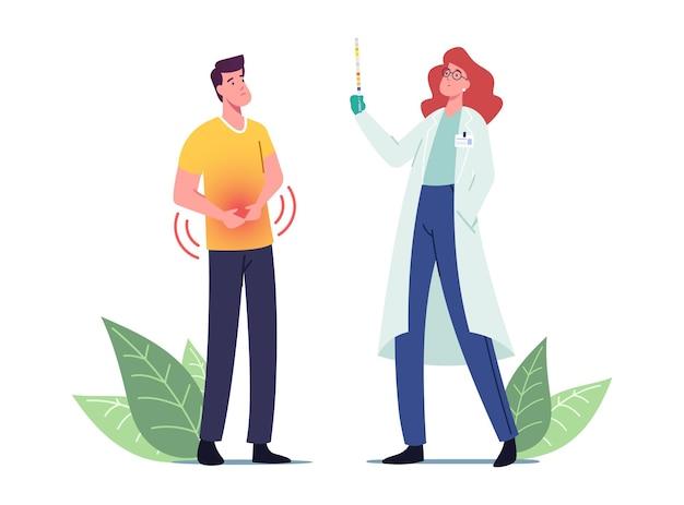 Erkrankter männlicher patientencharakter, der den urologen-arzt mit schmerzhaften symptomen einer harnwegsinfektion besucht