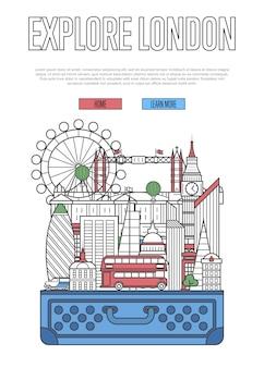 Erkunden sie die londoner website mit einem offenen koffer