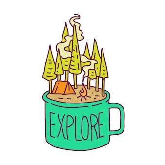 Erkundung der natur mit einer tasse kaffee monoline illustration
