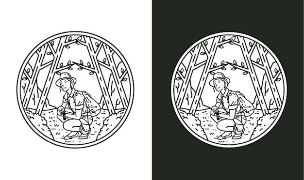 Erkundung der wald monoline illustration