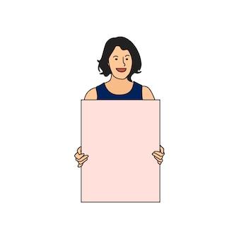 Erläuterte frau, die leeres papier hält