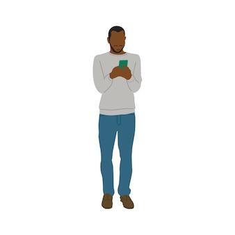 Erläuterter schwarzer mann, der handy verwendet
