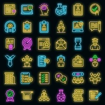 Erleben sie symbole gesetzt. umrisse von erfahrungsvektorsymbolen neonfarbe auf schwarz