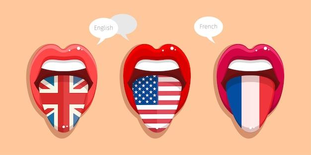 Erlernen der englischen sprache, der amerikanischen sprache und der französischen sprache