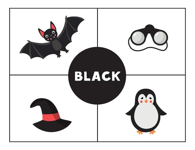 Erlernen der grundfarben für kinder. schwarze farbe.