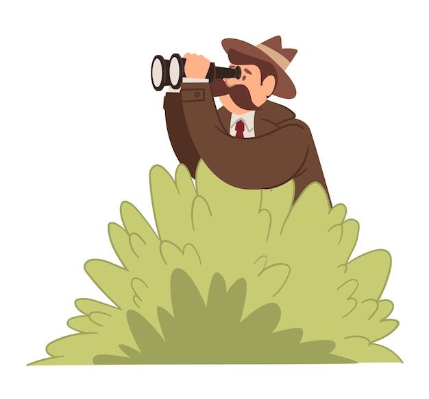 Ermittler oder detektiv beobachten mit einem fernglas, das sich in büschen versteckt. isolierte männliche figur, die nach kriminellen sucht und geheimnisse entdeckt. überwachung und durchsuchung der polizei. vektor im flachen stil