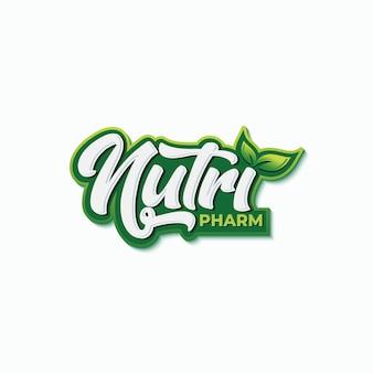 Ernährung apotheke typografie logo entwurfsvorlage Premium Vektoren