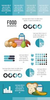 Ernährung und lebensmittel blau infografik