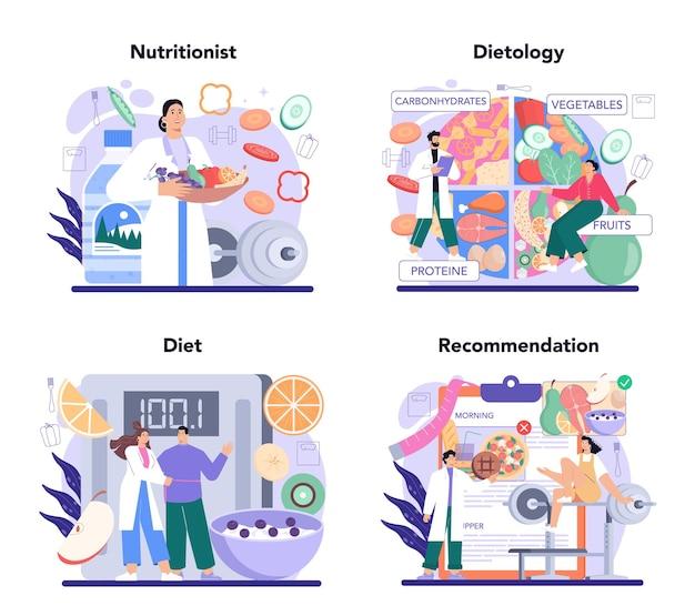 Ernährungsberater-konzept stellte ernährungstherapie mit gesundem essen ein
