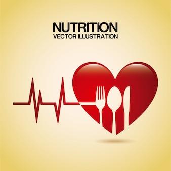 Ernährungsdesign über sahnehintergrund-vektorillustration
