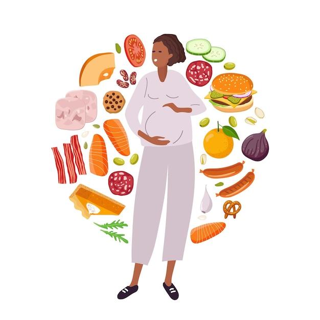 Ernährungswahl während der schwangerschaft gesundes essen und junkfood diät-wahl lebensmittel für die schwangerschaft