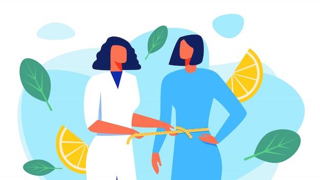 Ernährungswissenschaftler im weißen mantel misst taillen-patienten.