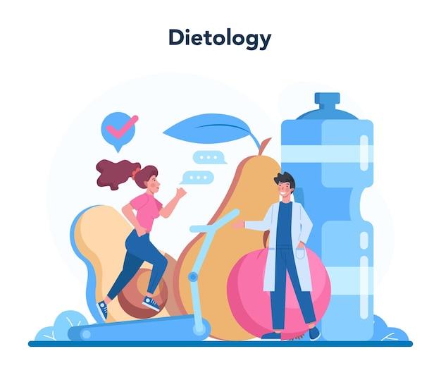Ernährungswissenschaftler-konzept. ernährungstherapie mit gesunder ernährung und körperlicher aktivität. diätologie-beratungskonzept.