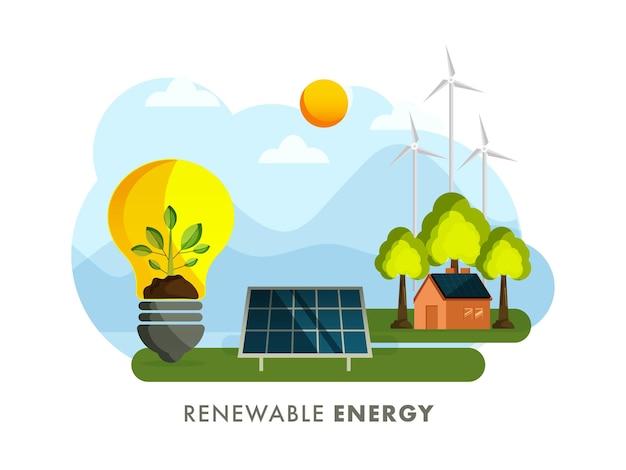 Erneuerbare energiekonzept mit öko-birne, sonnenkollektor, haus, windmühle auf sonne-natur-hintergrund.