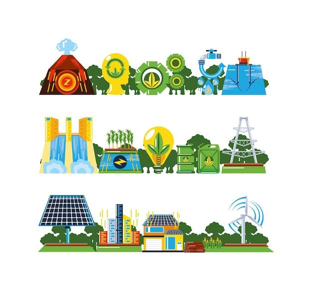 Erneuerbare energien, umweltfreundliche umweltanlagen und -stationen unter verwendung alternativer energiequellen