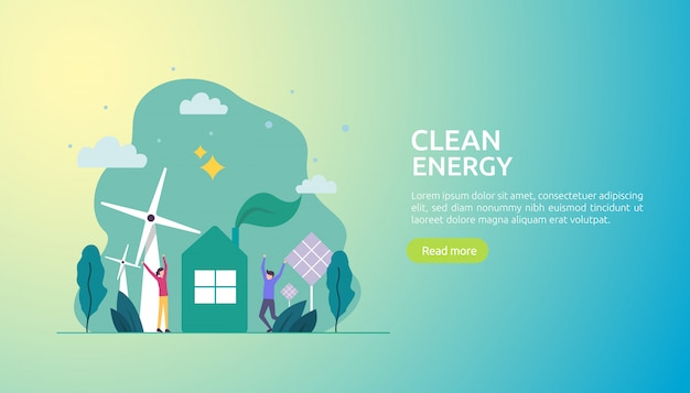 Erneuerbare grüne energiequellen und saubere umwelt