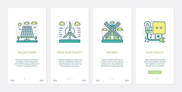 Erneuerbare öko-energiequellen umwelttechnologie ux ui mobile app seite bildschirm gesetzt