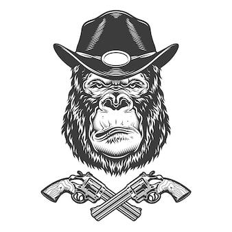 Ernster gorillakopf im sheriffhut