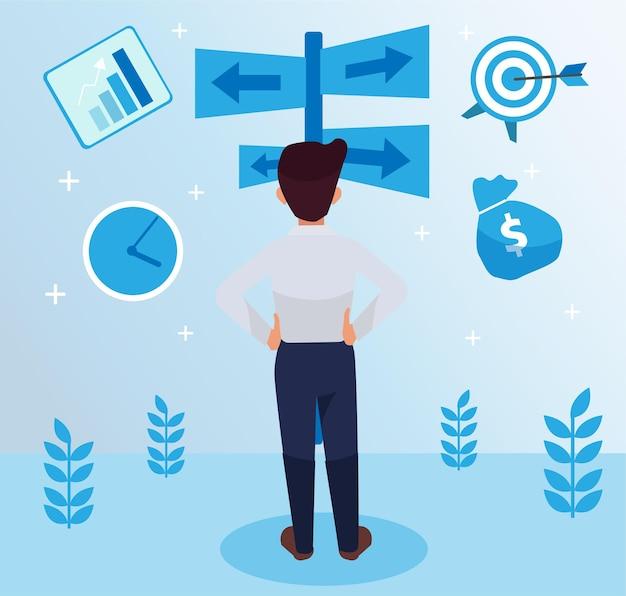 Ernsthafter, fleißiger mitarbeiter, der auf der mittleren seite steht, nach hinten zeigt und seine taillenillustration hält, marketingstrategie mit grafiken und symbolen. führung