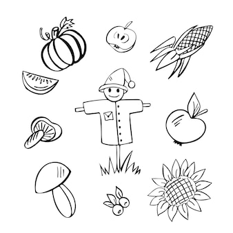 Ernte handgezeichneter doodle-satz von 10 elementen