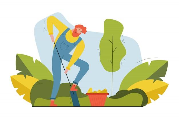 Ernte, landwirtschaft, aussaat, natur, landwirtschaftskonzept. junger bärtiger glücklicher lächelnder mann-bauernarbeiter, der boden mit schaufel für das pflanzen von samen gräbt. ländliches leben in der landillustration