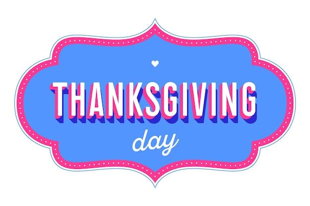 Erntedank. grußkarte mit text thanksgiving day auf rotem hintergrund. banner, plakat und postkarte für feiertags-erntedankfest. für grußkarte, postkarte, web.
