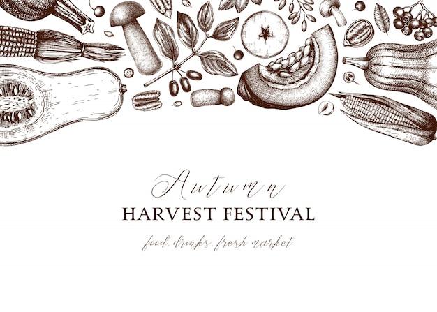 Erntedank . vintage ernte hintergrund des herbsterntefestivals. hintergrund der herbstsaison mit hand gezeichneten beeren, früchten, gemüse, pilzillustration. traditionelle botanische elemente