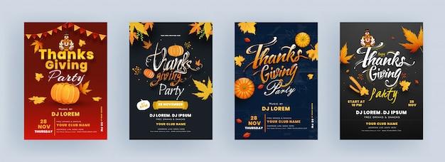Erntedankfest-flyer-entwurf mit der türkei-vogel, kürbis, ahornblättern und ereignis-details Premium Vektoren