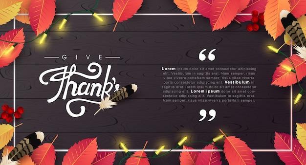 Erntedankfest hintergrund. glückliche thanksgiving-inschrift der herbstsaison.