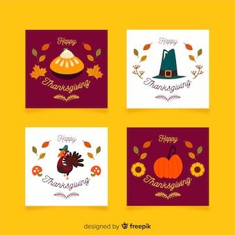 Erntedankfest-kartensammlung im flachen design