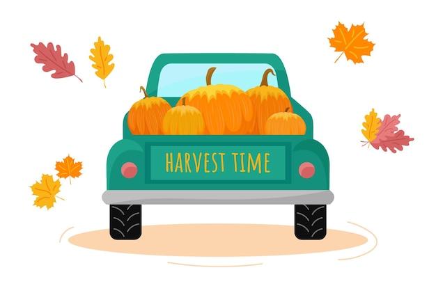 Erntewagen mit kürbissen rückansicht erntezeit herbstkonzept erntedankfest
