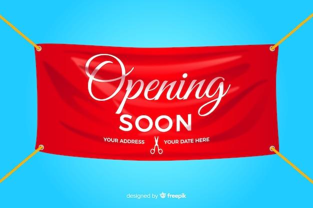 Eröffnung bald banner im realistischen stil