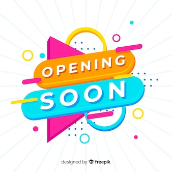Eröffnung bald hintergrund im flachen stil
