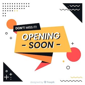 Eröffnung bald hintergrund origami-design