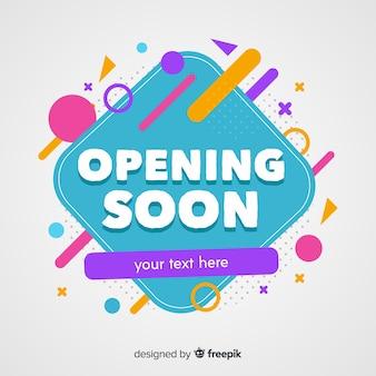 Eröffnung bald in flacher bauform