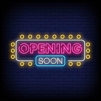 Eröffnung bald leuchtreklame-art-text-vektor