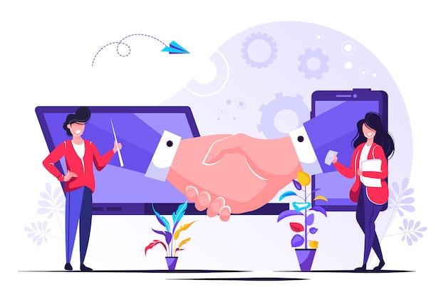 Eröffnung eines neuen startups. geschäftshandschlag