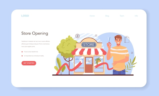 Eröffnung eines webbanners oder einer landingpage für kommerzielle aktivitäten