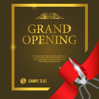 Eröffnungs-plakat-ereignis mit rotem band-ausschnitt