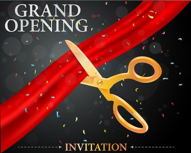 Eröffnungskarte mit roten band- und goldscheren