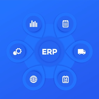 Erp-software-infografiken-vektorschablonendesign in blau