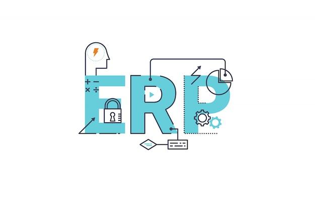 Erp - unternehmensressourcenplanungswort, das typografiedesignillustration beschriftet