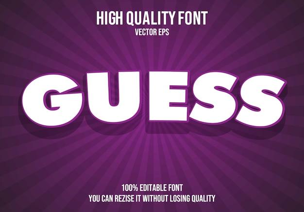 Erraten sie bearbeitbaren text font-effekt