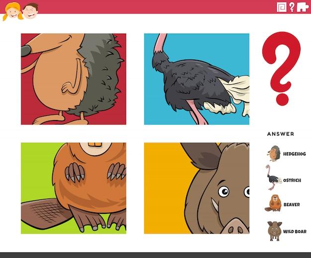 Erraten sie das lernspiel für tierfiguren für kinder