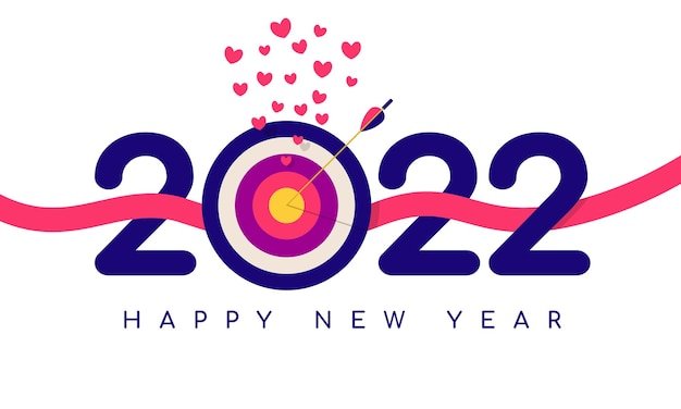 Erreichen des gesetzten ziels in happy new year 2022 vector illustration