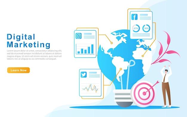 Erreichen sie verkaufsziele weltweit mithilfe von social-media-illustrationen
