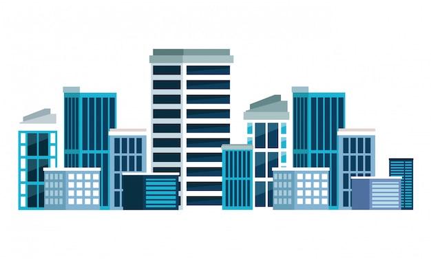 Errichtende städtische architekturikonenkarikatur